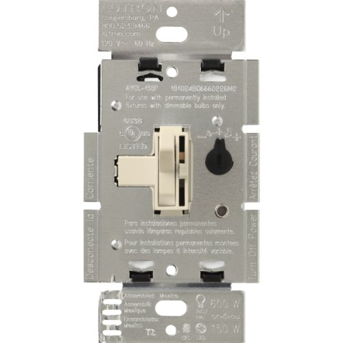 Lutron Aycl-153Ph-La Toggler/Ariadni Cfl/Led Single-Pole/3-Way Dimmer, Light Almond