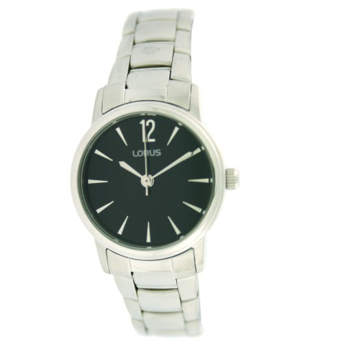 Lorus Round Silver Tone Ladies Watch Black Dial RRS35MX9