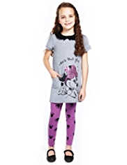 2 Piece Minnie Mouse Peter Pan Collar Dress & Leggings Outfit