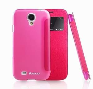 Yoobao Slim II S VIEW Cross Textured SMART Flip Cover Case for Samsung Galaxy S4 i9500 (Dark Pink)