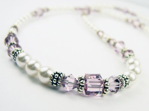 June Alexandrite Beaded Swarovski Crystal Freshwater Pearl Birthstone Necklace in Sterling Silver - MEDIUM 18 In.