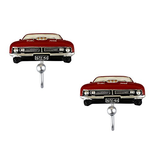 Matching Set of 2 Red Ford Falcon Wall Hook for Coat Hat Man Bags (Ford Scarf compare prices)