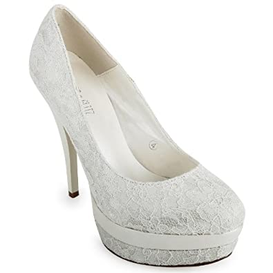 40K Womens Ivory Platform Ladies High Heel Wedding Bridal Court Shoes Size 10 US
