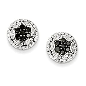 IceCarats Designer Jewelry Sterling Silver Black White Diamond Earring