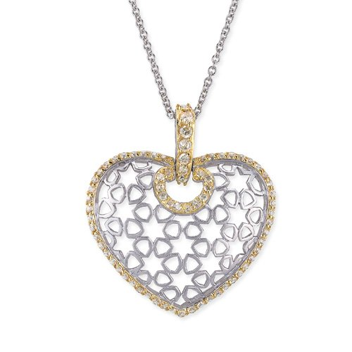 Champagne Puffed Heart Beautifully Rhodium Plated (.925) S/S Pendant (Nice Holiday Gift, Special Black Firday Sale)