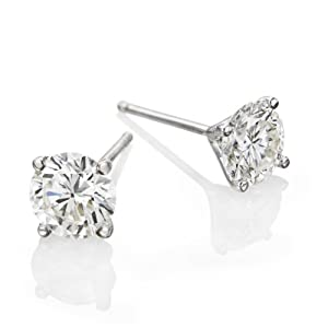 GIA Certified, Round Cut, Diamond Earrings in 18K Gold / White (3/4 ct, H Color, SI1 Clarity)
