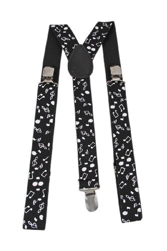 Black / White Musical Notes Elastic Suspenders Braces