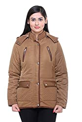 Trufit Full Sleeves Solid Women's Tan Quilted Medium Length Removable Hood Polyester Parka Jacket