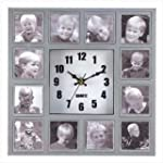 QUARTZ WALL CLOCK HOLDS 12 PHOTOS PHO...