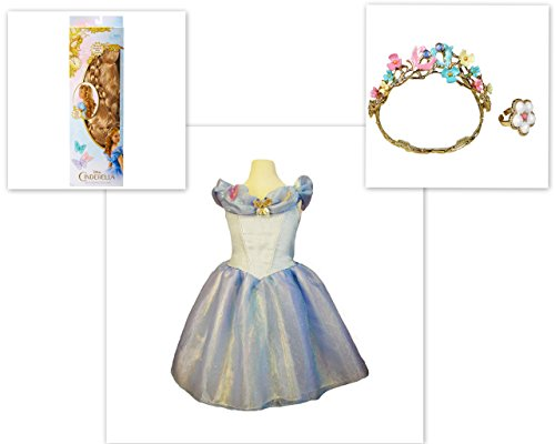 Disney Cinderella Live Action Costume Wig Wedding Tiara Ring & Dress 4-6x