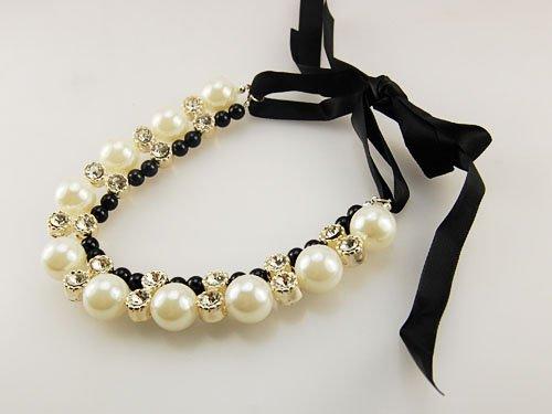 Elegant Classic Crystal Rhinestone Faux Pearl Bead Strand Choker Ribbon Necklace