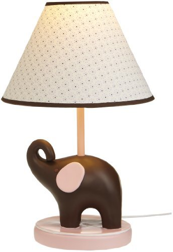 """Carter'S Pink Elephant Lamp Base And Shade, Pink/Choc, 5.5 X 12"""", Garden, Lawn, Maintenance"""