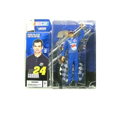 Jeff Gordon #24 Pepsi Uniform Pepsi Background Display stand McFarlane NASCAR Series 2 Hobby Edition Action Figure