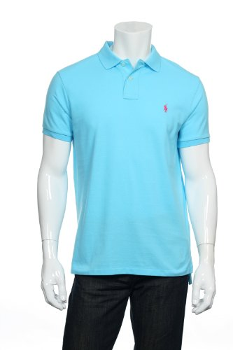 Polo Ralph Lauren Men'S Custom Fit Mesh Polo, French Turquoise, L