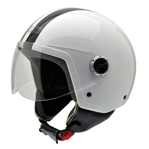 NZI 150251G324 Vintage II CWB Open Face Motorcycle Helmet, White/ Black, M