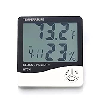 Temperature Humidity Time Display Meter with Alarm Clock, Wall Mount or Table Top, Multicolour