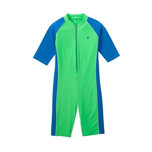 Coolibar Upf 50+ Boy'S Neck To Knee Surf Suit - Sun Protective (S 6-8 - Electric Green)