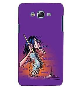 Fuson Music Lover Girl Back Case Cover for SAMSUNG GALAXY J5 - D3921
