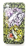 Textured Black Two Face Tiger Design Ed Hardy Hard Case Back Cover For Iphone 4 4S