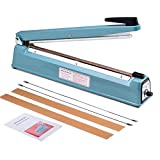 Metronic 16inch/400mm Manual Impulse Manual Hand Sealer Heat Sealing Machine Poly Tubing Plastic Bag with 2 Replacement Kit Blue (Color: blue, Tamaño: 16