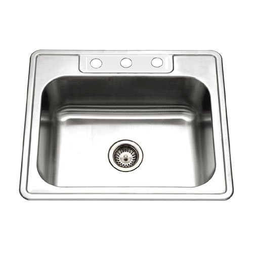 Houzer 2522-8BS3-1 Glowtone Single Bowl Drop-In Stainless Steel Sink, 25-by-22-by-8-Inch