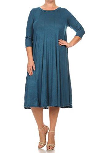 Modern Kiwi Long Sleeve Flowy Maxi Plus Size Dress Teal 4X