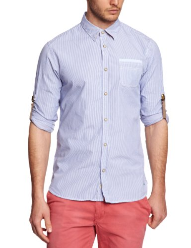 Scotch & Soda Casual Long Sleeve with Contrast and Roll-Up Men's Shirt Dessin B Medium