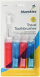 4 Travel Toothbrushes Fold Up Foldable Toothbrush Holiday Red Blue Compact By Anuchart Shop