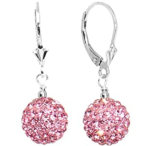 10mm Pink Crystal Ball Sterling Silver Leverback Earrings