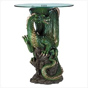 """Mermaid Sculptural Table with Glass Top 23.5/"""""""