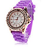 Purple Silicone Band Analog Quartz White Dial Women's Watch