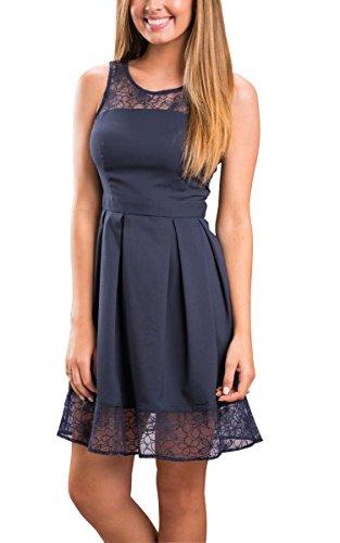 ECOWISH Womens Lace Stitching Sleeveless Dress Midi Tunic Skirt Black S