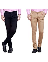 Nimegh Black And Beige Color Cotton Casual Slim Fit Trouser For Men's (Pack Of 2)