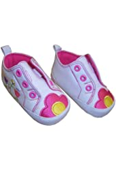 Infant Toddler Girl's Mary Jane Shoe with Pink Flowers - Size 6-9 Months