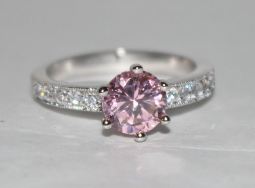 Pink Prong Set W/Clear Accent CZ Rhodium Bonded Engagement Ring (10)
