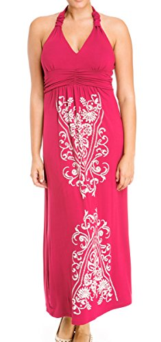 Evogues Plus Size Maxi Cocktail Cruise Halter Dress With Embroidery Print Detail Pink - 1X