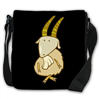 Funny Cartoon Billy Goat Goat With Crossed Legs Small Black Canvas Shoulder Bag / Handbag