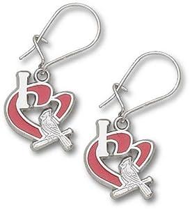 St. Louis Cardinals 1 2 I Heart Bird Bat Enamel Dangle Earrings - Sterling Silver... by Logo Art