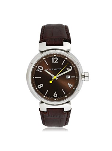 Louis Vuitton Men's Pre-Owned Tambour Brown/Brown Leather Watch