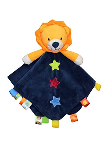 Taggies Rattle Head Lion Baby Boy Plush Security Blanket Lovie by Taggies - Navy - 1