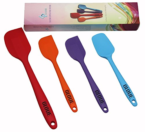 GLOUE Silicone Spatula Set - 4-piece 450oF Heat-Resistant Baking Spoon & Spatulas - Ergonomic Easy-to-Clean Seamless One-Piece Design - Nonstick - Dishwasher Safe - Solid Stainless Steel - Multicolor (One Piece Spatula compare prices)