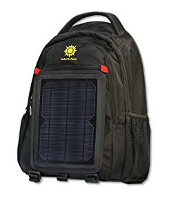 SolarGoPack 10k, solar powered backpack, charge mobile devices, Take Your Power with You, 10k mAh L-Polymer Battery - Black