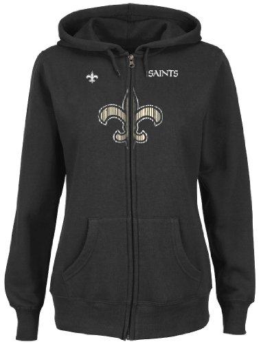 New Orleans Saints Women's Majestic Buttonhook Full Zip Hooded Sweatshirt Felpa