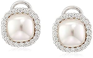 Majorica Sterling Silver, Simulated Pearl, and Cubic Zirconia Earrings