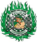 Irish Brotherhood Firefighter Flaming Maltese Cross Flag Decal - 12' h - 'View Thru'