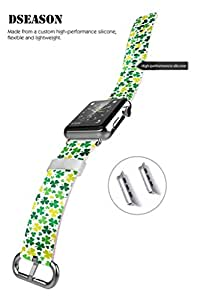 Apple Watch Band, 38MM iWatch Strap Premium Leather Replacement Watch Band with Secure Metal Clasp Buckle Ditsy Shamrock Patterns