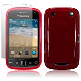 BLACKBERRY CURVE 9380 RED TPU GEL SKIN CASE / COVER + SCREEN PROTECTOR PART OF THE QUBITS ACCESSORIES RANGEby Qubits