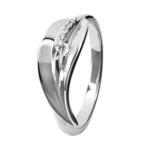Hot Diamonds Leaf Stem Silver And Diamond Ring