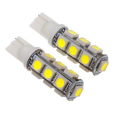 Rayshop - T10 2.5W 13X5060Smd 200-230Lm 6000-6500K Cool White Light Led Bulb For Car (12V)