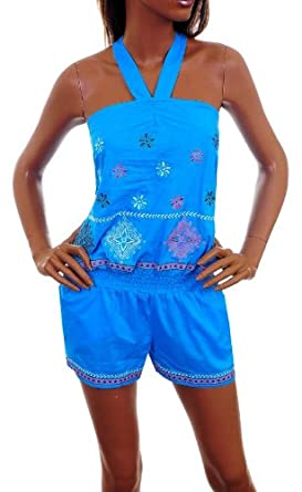 Sexy Blue Top Shorts One Piece Romper with Floral Embroidery SML from amazon.com